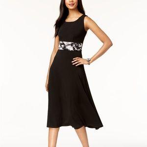 Jessica Howard Metallic-Dot Floral Dress Black/Pnk